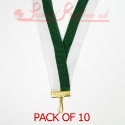 Striped Green, White Medal ribbon pack of 10