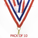 Saftey Release Striped Blue, White, Red Medal ribbon pack of 10