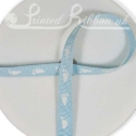 Light BLUE 10mm grossgrain Ribbon with white baby feet, 20m roll