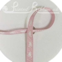 Light PINK 10mm grossgrain Ribbon with white baby feet, 20m roll