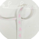 WHITE 10mm grossgrain Ribbon with pink baby feet, 20m roll