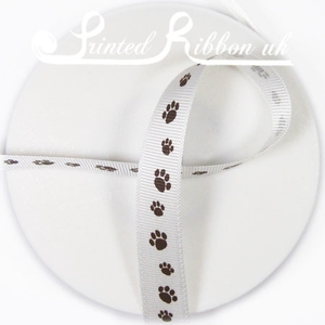 PP16MMPAW_BRWN20M BROWN PAW PRINTS on WHITE 16mm GROSGRAIN RIBBON - 20m roll