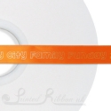 15mm custom printed personalised bright orange satin ribbon 50m roll