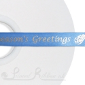 15mm denim custom printed ribbon bespoke personalised CREAM printed satin ribbon with logo 50m roll