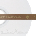 15mm wide light brown custom printed satin ribbon 50m roll