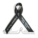 Black plain satin woven awareness / cause / charity ribbon and pin attachment