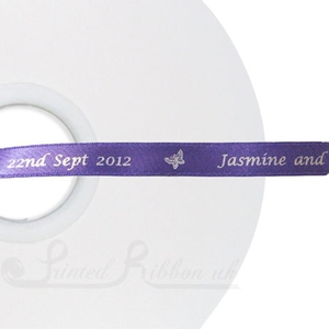 PR10PURP50M PURPLE 10mm Personalised Printed Satin Ribbon - 50m Roll
