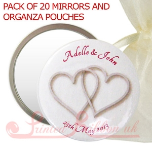MIRRORSHEARTLOGO20 Personalised Mirror with SILVER HEARTS in organza pouch - wedding favour gift. Pack of 20