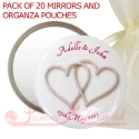 printed personalised mirrors with silver hearts.