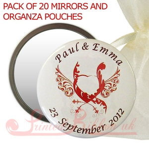 BM55HEARTWINGS20 Personalised Mirror with HEART AND WINGS print in organza pouch - wedding favour gift. Pack of 20