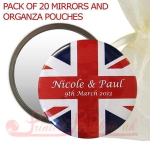 BM55UJACKBCKG20 Personalised Mirror with UNION JACK print in organza pouch - wedding favour gift. Pack of 20