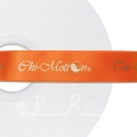 Bright Orange printed ribbon 25mm black personalised ribbon 25m