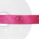 Fuchsia printed ribbon 25mm black personalised ribbon 25m