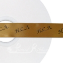 GOLD printed ribbon 25mm black personalised ribbon 25m