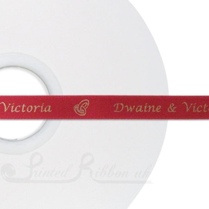 PW10CRED50M 50m roll of CARDINAL RED Personalised Printed Custom Satin Ribbon for Wedding  favour gifts