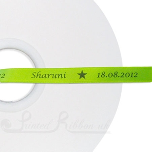 PW10LGRN50M 50m roll of LIME GREEN Personalised Printed Custom Satin Ribbon for Wedding  favour gifts