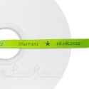 10mm personalised printed satin ribbon LIME GREEN ribbon 50m
