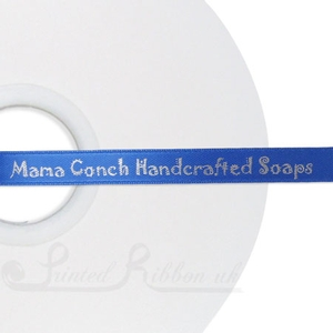 PW10RBLU50M 50m roll of ROYAL BLUE Personalised Printed Custom Satin Ribbon for Wedding  favour gifts