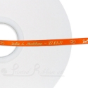 7mm BRIGHT ORANGE Bespoke custom printed satin ribbon 50m roll