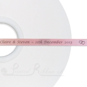 PR7LPNK50M LIGHT PINK 7mm wide Personalised Custom Printed Satin Ribbon - 50m roll