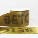 100mm wide gold satin ribbon with personalized print - roll of 50m