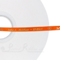 50m roll of BRIGHT ORANGE Personalised Printed Custom Satin Ribbon for Wedding favour gifts