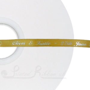 PW7GOLD50M GOLD 7mm Personalised Printed wedding ribbon - 50m roll