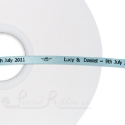 50m roll of LIGHT BLUE Personalised Printed Custom Satin Ribbon for Wedding favour gifts