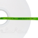 50m roll of LIME GREEN Personalised Printed Custom Satin Ribbon for Wedding favour gifts