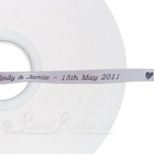 PW7LILC50M LILAC 7mm Personalised Printed wedding ribbon - 50m roll