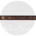 15mm COFFEE BROWN wedding ribbon with customized print