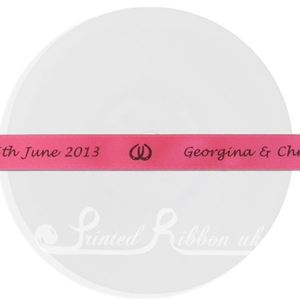 PW15HPNK25M 25m roll of HOT PINK Personalised Printed Custom Satin Ribbon for Wedding  favour gifts
