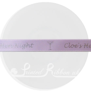 PW15LILC25M 25m roll of LILAC Personalised Printed Custom Satin Ribbon for Wedding  favour gifts