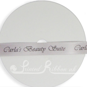 PW15SLVR25M 25m roll of SILVER Personalised Printed Custom Satin Ribbon for Wedding  favour gifts