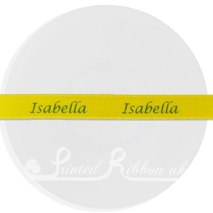 PW15YELL25M 25m roll of YELLOW Personalised Printed Custom Satin Ribbon for Wedding  favour gifts