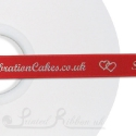 15mm BRIGHT RED wedding ribbon printed with bespoke message