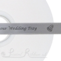 15mm SILVER wedding ribbon printed with bespoke message