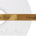 15mm GOLD wedding ribbon printed with bespoke message