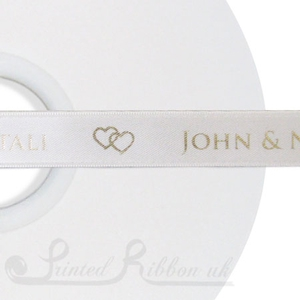 PW15IVRY50M 50m roll of IVORY Personalised Printed Custom Satin Ribbon for Wedding  favour gifts