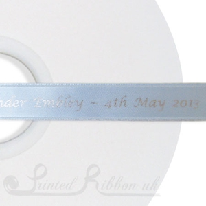 PW15LBLU50M 50m roll of LIGHT BLUE Personalised Printed Custom Satin Ribbon for Wedding  favour gifts