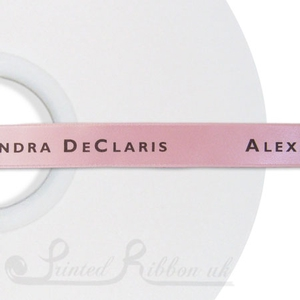 PW15LPNK50M 50m roll of LIGHT PINK Personalised Printed Custom Satin Ribbon for Wedding  favour gifts