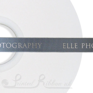 PW15PGRY50M 50m roll of PEBBLE GREY Personalised Printed Custom Satin Ribbon for Wedding  favour gifts