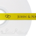 15mm SUNFLOWER YELLOW wedding ribbon printed with bespoke message