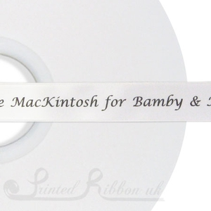 PW15WHTE50M 50m roll of WHITE Personalised Printed Custom Satin Ribbon for Wedding  favour gifts