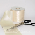 100mm 4inch wide plain CREAM single faced satin ribbon by the metre