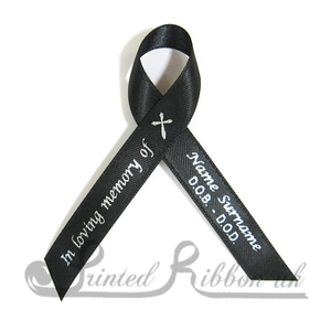 BLACKAWPR100PK Pack of 100 BLACK Personalised d/f Satin Funeral / Memorial ribbons with pin attached