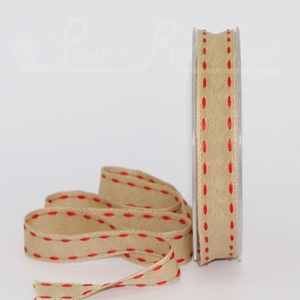 PP15STCH_RED20M Ecru / Taupe / Light Brown 15mm ribbon with RED Stitched edge detail, 20m roll