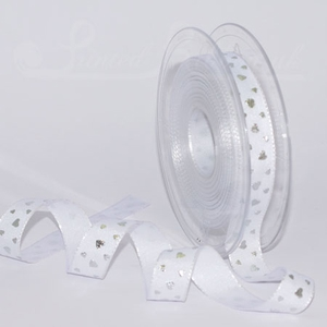 PP16HEARTSLVR20M White 16mm ribbon with Silver Metallic raised Hearts, 20m roll