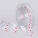 white 16mm ribbon with reised red hearts print