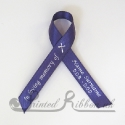 PURPLE plain satin woven awareness / cause / charity ribbon and pin attachment